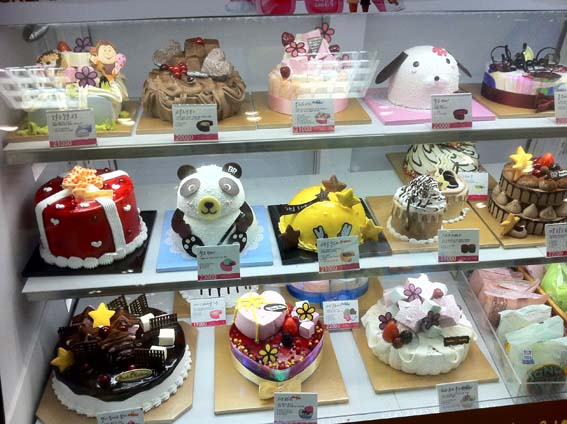 Outra coisa muito típica do Natal na Coreia - Os Bolos de Natal... São Lindos!!