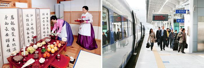 Preparação do Charye (esquerda)/Pessoas esperando em uma estação de trem prontos para visitar suas cidades natais (à direita). Fotos: Imagine Your Korea