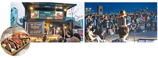 Esquerda: O food truck Steakout vende bifes de alta qualidade por 9,900 won (aprox. R$29,30). O prato consiste de bife, cebolas e flores de alho. Direita: Lee Eun-A cantando para uma platéia de pelo menos 200 pessoas no mercado. Foto: Steakout, Jin Min-Ji.