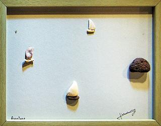"""Arte de Nico Jerry, """"Aventura"""" foi feita de seixos e conchas que o artista coletou em Icheon. Foto: Jim Min-Ji"""