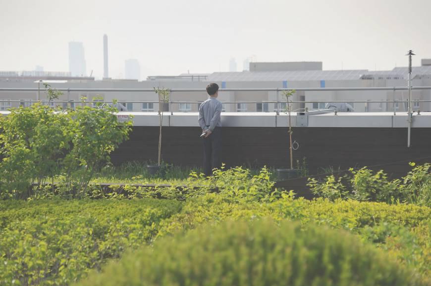 Um home admira a vista no Garden-5 em Seul