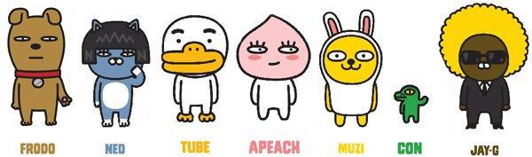 Os personagens dos do Kakao Talk