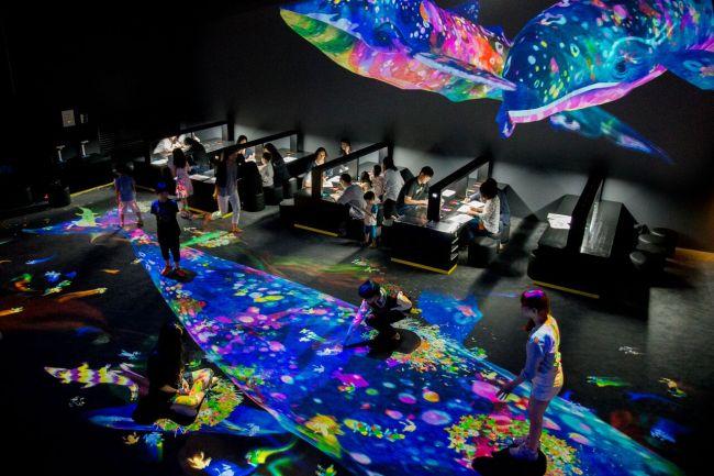 Os Visitantes Participam Na Criação Da &Quot;Graffiti Nature&Quot; Interativo Na Exposição Realizada Em Março Em Cingapura. (Teamlab)