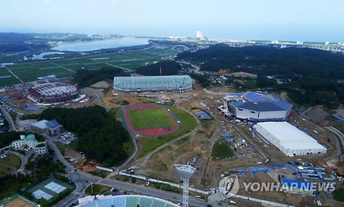 As instalações para os Jogos de Inverno de 2018, em Gangneung, na Província de Gangwon, estão em construção. Foto: Yonhap.