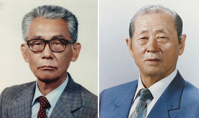 A primeira geração de designers de fontes Hangul: Jeong-Ho Choe (1916 - 1988) e Jeong-Sun Choe (1917 - 2016).