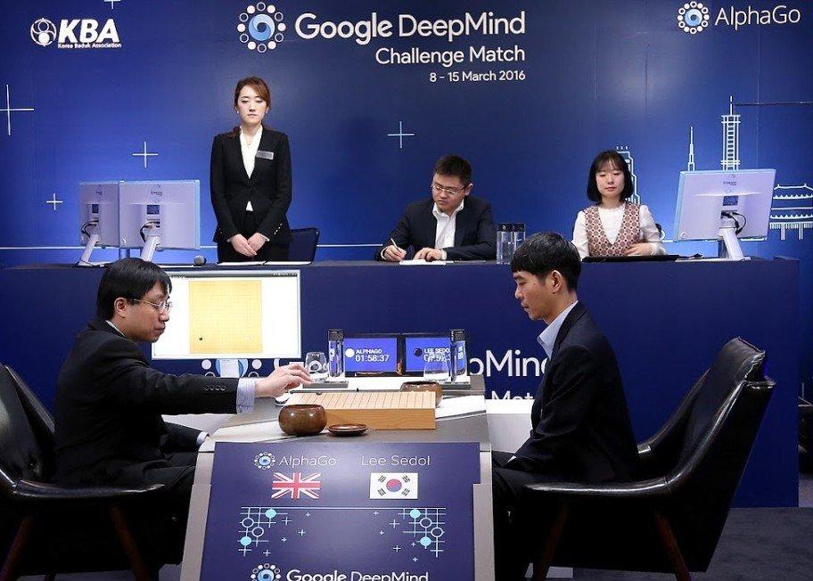 O jogo entre o computador AlphaGo e o mestre de Baduk coreano, Lee Se-dol.