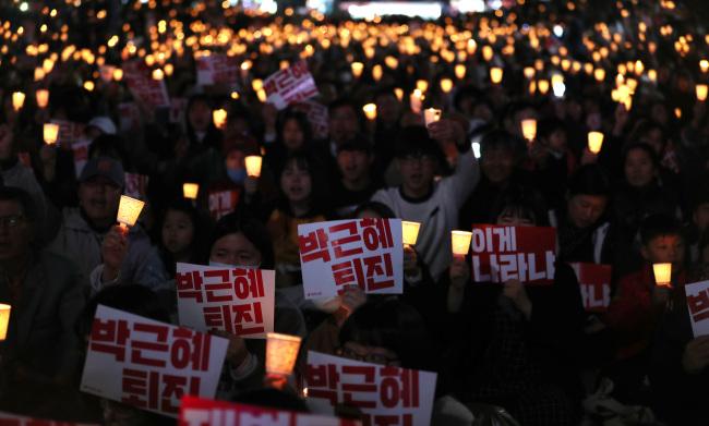 Manifestantes Na Praça Gwanghwamun, No Centro De Seul, No Sábado. Foto: Yonhap