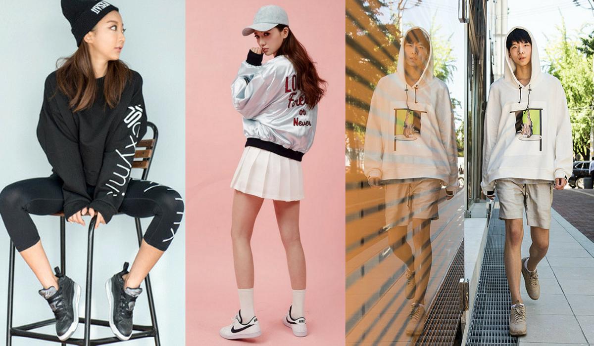 """Alguns exemplos do vestuário """"athleisure"""" que na coreia foi um dos primeiros países a virar tendência."""