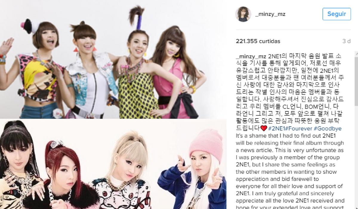 Publicação feita por Minzy no instagram.
