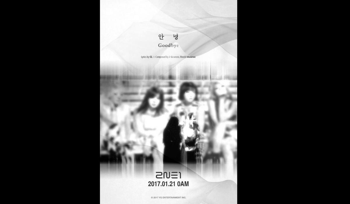 """Foto promocional do single """"Goodbye"""" publicada nas redes sociais do grupo 2NE1 e também por membros."""