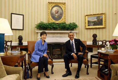 Park Geun-hye e ex-presidente Barack Obama