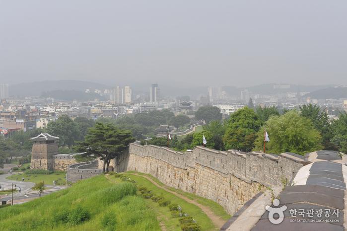 Suwon vista da Muralha de Hwaseong. Foto: Korea Tourism Organization.