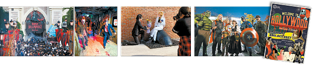 As duas primeiras fotos da esquerda: a Lotte World contratou atores para caminhar em seu parque temático para tornar a experiência de Halloween mais assombrada do que nunca. Terceiro foto da esquerda: Seonyudo Park é onde as pessoas que estão interessadas em cosplay podem se reunir e caracterizados tirar fotos. Quarto a partir da esquerda: o Great Korea Beer Festival no distrito de Yongsan, no centro de Seul, teve cerveja artesanal da Coreia e do exterior e houve um concurso de fantasia. Lado Direito: B One e outros bares têm promovido eventos de Halloween. (Imagens: LOTTE WORLD, YOON SO-YEON, GREAT KOREAN BEER FESTIVAL, MYK INC.)