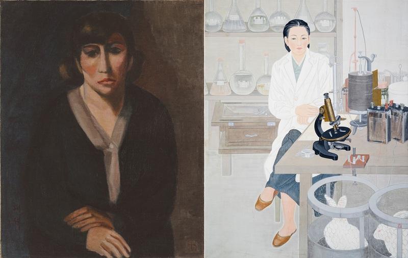 "Obra ""Self-Portrait"" (1928) de Na Hye-seok, ao lado de ""A Pair of Modern Women: Thinking of Research in Lab"" (1994) de Lee Yoo-tae. Imagens: MMCA/Korea Times"