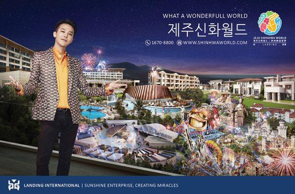 G-Dragon como garoto propaganda de complexo de resort. / Foto: Jeju Shinhwa World