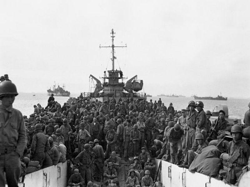 31ª divisão de infantaria do exército americano na chegada a Incheon .