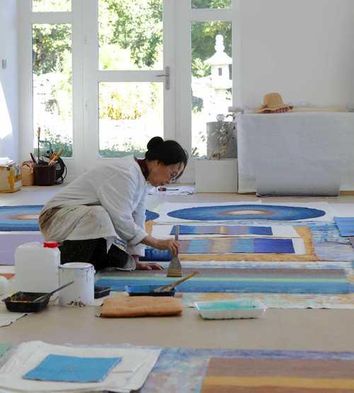 Bang Hai-ja fez parte da primeira geração de pintores abstratos da Coreia. Foto: gazou.eklablog.com