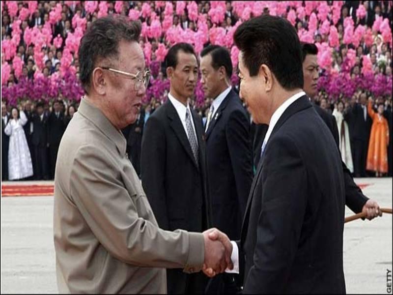 Roh Moo-hyun e Kim Jong-Il / Foto: Getty Imagens/ The Telegraph