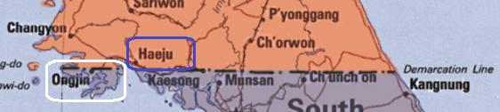 Nessa Imagem Vemos O Paralelo 38 Como Previsto Inicialmente. Em Destaque Estão Ongjin (Branco) E Haeju (Azul). Fonte: Google