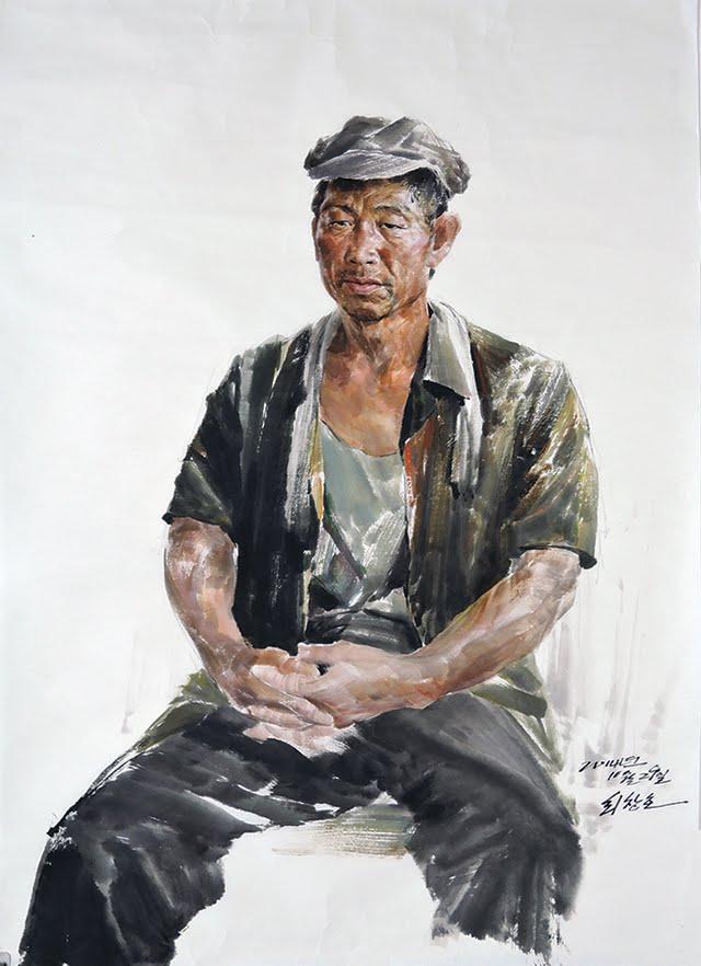 """""""Um Trabalhador"""", do artista Choe Chang-ho. Imagem: Bienal de Gwangju"""
