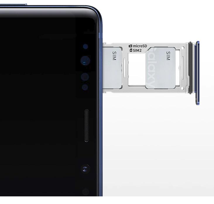 compartimento onde colocar chip e Micro SD Fonte:[https://www.samsung.com/br/smartphones/galaxy-note9/performance/]