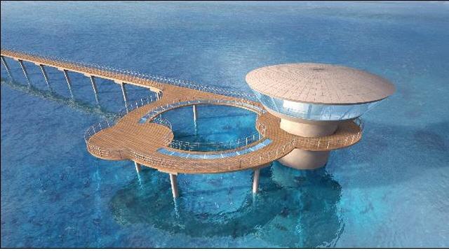A estrutura do prédio de observação deverá pesar 2.450 toneladas e atingir 26,25 metros de altura. (imagem: Min. de Oceanos e Pesca)