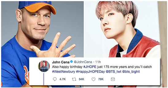 John Cena deseja Feliz Aniversário à J.Hope em seu Twitter. Foto: Twitter