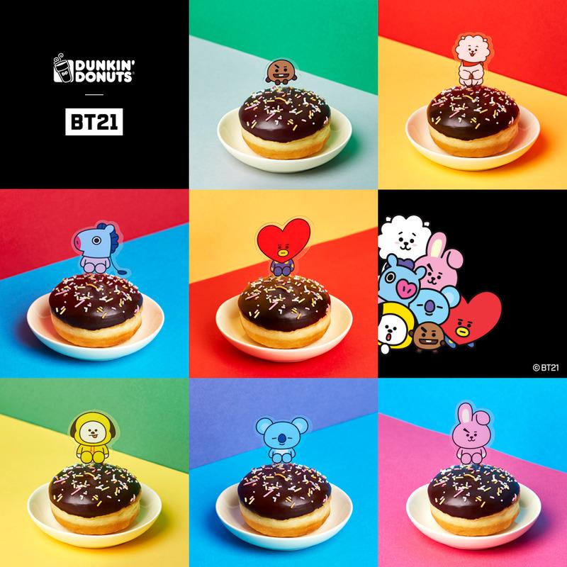 Rosquinhas Criadas Para A Colaboração Da Franquia Dunkin' Donuts E O Bts. Foto: Promoção | Dunkin' Donuts