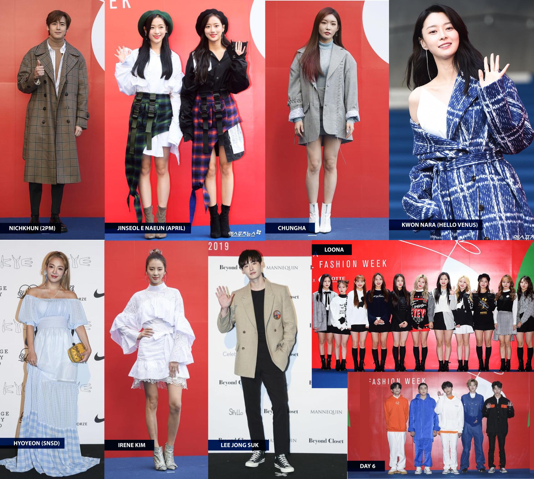 Famosos no tapete azul da Seul Fashion Week. Fotos: Soompi