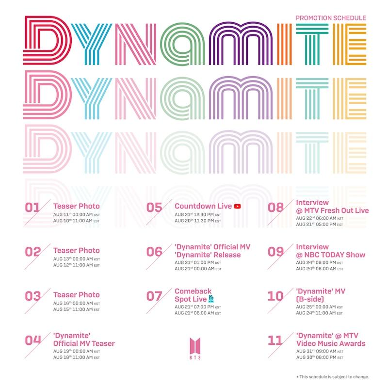 Bts Anuncia Novo Single Intitulado 'Dynamite'